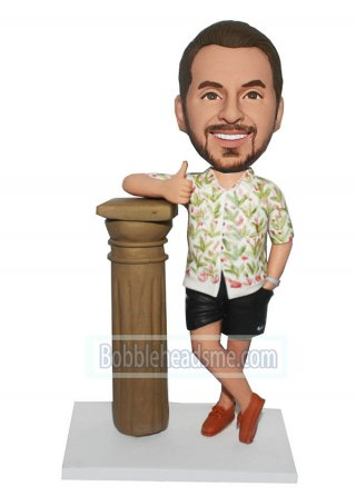 Custom bobblehead Thumb Up Male In a Flowery Shirt And Black Sho