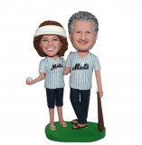 Customized Baseball Bobblehead Doll Couple In Jersey