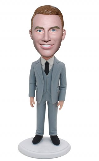 Customized Bobble Heads Grey Suits Groomsmen Gift Ideas