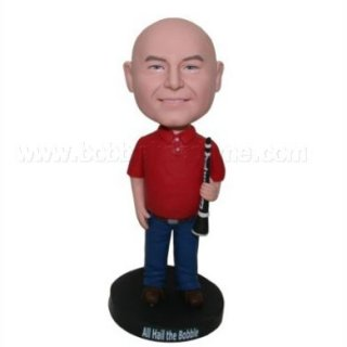 Red Polo Shirt Male With Flute Custom Bobblehead