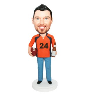 Football Jersey Male With Ball And Beer On Hands Bobblehead