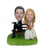Seated on Bench Custom Wedding Bobbleheads