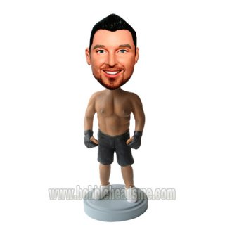 Custom Shirt Off Muscle Man In Gloves Bobble Head Doll