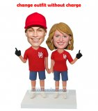Super Baseball Fan Couple Bobbleheads In Red And Blue Shorts