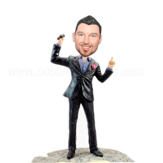 Holding A Microphone Groomsmen Dancing Body Bobbleheads