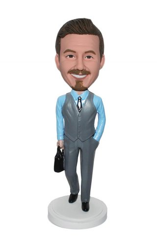 Custom Bobbleheads Doll made USA Businessman With A Briefcase