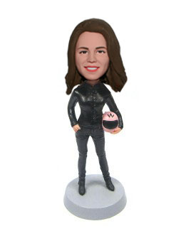 Custom Bobblehead Woman Driver In Race Suit Holding A Helmet