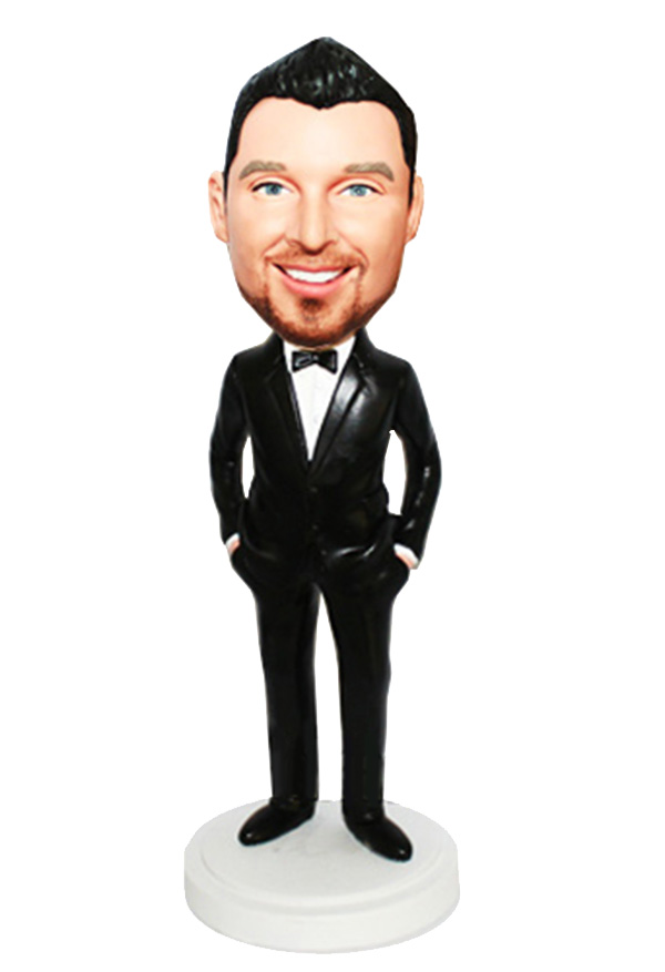 Hands In Pockets Bowtie Black Suit Custom Bobbleheads