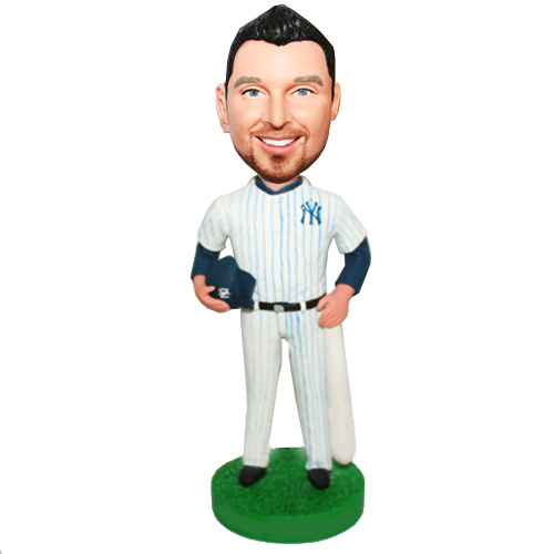 Baseball Player Long-sleeve Shirt Inside Bobblehead Doll - Click Image to Close