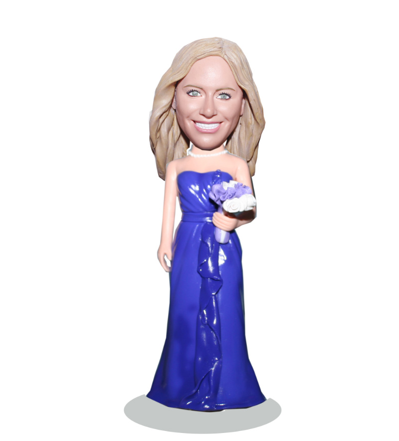 Elegent Lady In Purple Long Dress Custom Bridesmaid Bobblehead