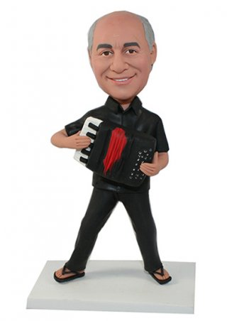 Custom Bobblehead Male In Black Solo Organ Show