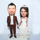 Frilly Wedding Dress With Crown Wedding Couple BobbleHeads