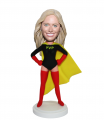 Custom Superwoman Bobbleheads In Black Yellow And Red