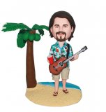 Guitar Playing Hawaiin Shirt Bobblehead At Beach