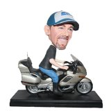Man Driving Japanese Motorcycle Personalized Bobblehead