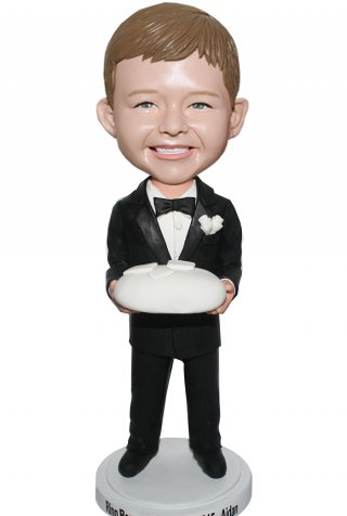 Custom Bobblehead Boy Groomman In Black Suit And Holding Cake