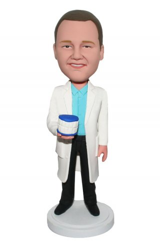 Customized Bobblehead Male Dentist With Teeth In Hand