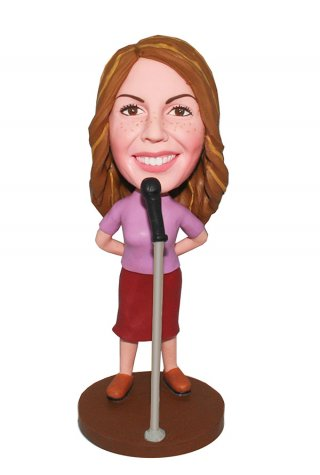 Personalized Singer Bobbleheads Standing Front At The Microphone