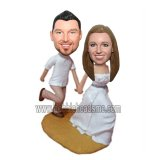 Beach Wedding Couple Running on the Sand Bobblehead