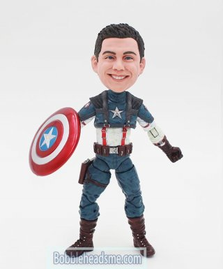 Custom Captain America Steve Rogers Bobble Head Action Dolls