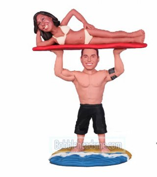 Custom Bobbleheads Shirtless Man Weightlifting Bikini Woman