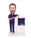 Custom bobble head Male In Casual Dress Next To A Printer
