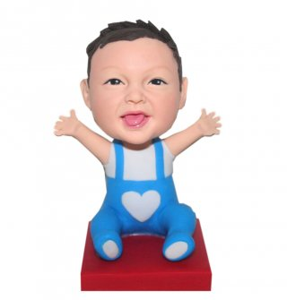 Seat On Floor Baby Waving Arms Custom Bobblehead Doll