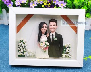 Wedding Photo Frame Custom Bobblehead Wedding Toppers 8-inch Double Doll