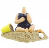 Personalized Baby Sit On the Sand With Toy Bobblehead Doll