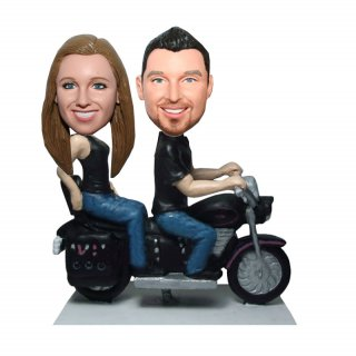 Custom Couple Bobblehead With Motorcycle