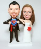 Superman And Wife Red Flowers Wedding Bobbleheads