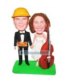 Customized Wedding Bobbleheads Construction Groom And Cello Brid