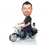 Custom Harley Davidson Bobblehead Man On Motorcycle