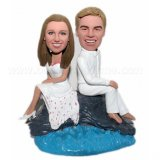 Coastal Beach All White Groom And Bride Bobbleheads