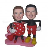 Carton Dress Wedding Couple Hearts Background bobble heads