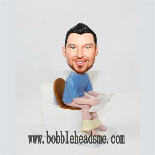 Custom Bobbleheads Reading On Toilet