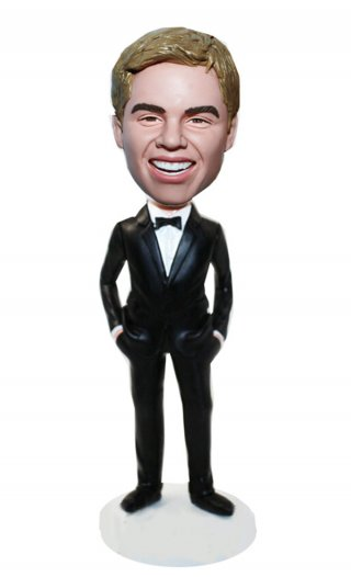 Custom Bobbleheads Fast Suit Black Bowtie Hands In Pockets