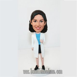 Personalized Open Coat Female Doctor Bobbleheads