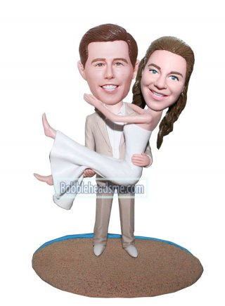 Lifelike And Personalized Cake Topper Groom Holding Bride