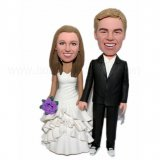 Frilly Dress Bride And Groom Hand In Hand Wedding Bobbleheads