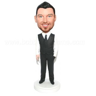 Handsome Groomsmen One Hnad In Pocket Vest Top Bobble Head Doll
