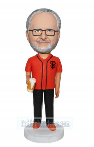 Custom Bobbleheads Doll SF Fan With A Cup Of Beer