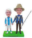 Custom Bobble Heads Couple Fishing Rod In Hand Doll