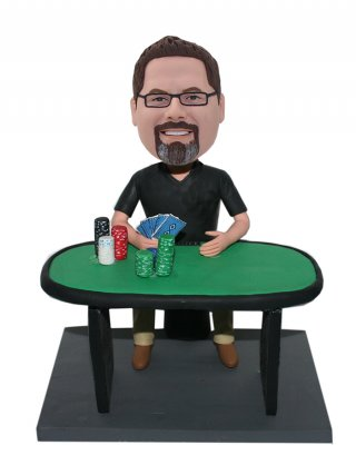 Poker Player Male Customized Bobbleheads Doll