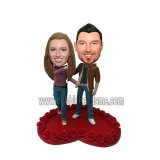 Fashion Couple Stand On The Rose Heart Shape Bobblehead