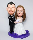 Arms Around Bride Wedding Custom Bobblehead on Purple Base