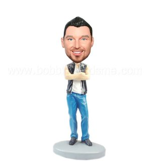 Arms Crossd Male In Short Sleeves Jacket Bobblehead
