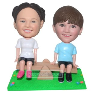 Custom Baby Bobble Heads Playing The See Saw