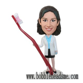 Custom Female Dentist With Big Toothbrush Bobbleheads