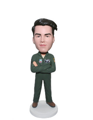 Personalized Bobblehead Pilot In Flight Suit With Arms Acrossed